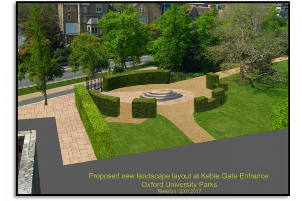 proposed new landscape layout at keble gate entrance